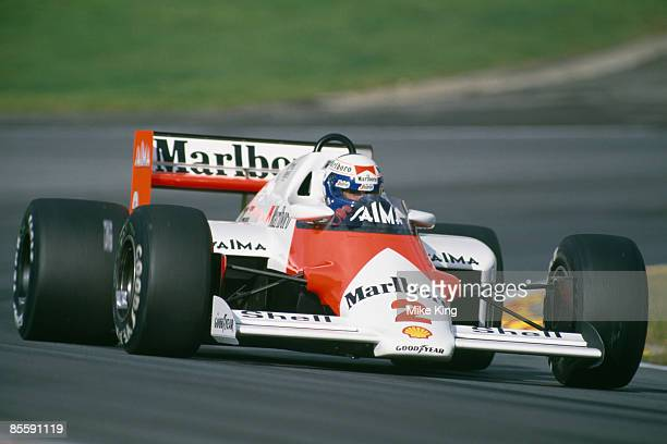 French racing driver Alain Prost driving a Marlboro McLaren in the European Grand Prix at Brands Hatch Kent 6th October 1985 Prost finished fourth in...
