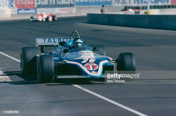 French racing driver Jacques Laffite drives the Equipe Talbot Gitanes Ligier JS17 Matra MS81 30 V12 to finish in 6th place in the 1981 Caesars Palace...