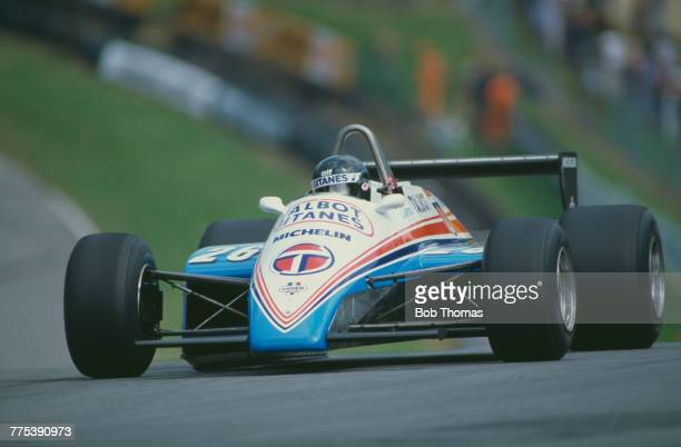 French racing driver Jacques Laffite drives the Equipe Talbot Gitanes Ligier JS19 Matra MS81 30 V12 in the 1982 British Grand Prix at Brands Hatch...