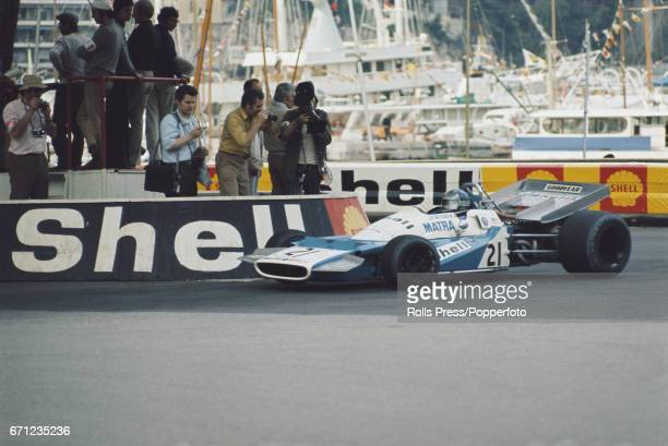 French racing driver JeanPierre Beltoise drives the MatraSimca MS120B Matra V12 for Equipe Matra Sports in the 1971 Monaco Grand Prix in Monte Carlo...