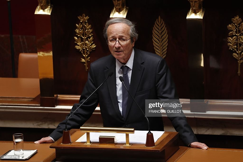 French Radical Party of the Left MP Roger-Gerard Schwartzenberg speaks during the post-Brexit debate on June 28, 2016 at the French National assembly in Paris. Paris stocks stot up more than three percent in afternoon trading on Tuesday, regaining a portion of their losses since Brexit, while investors kept a wary eye on an EU. / AFP / FRANCOIS