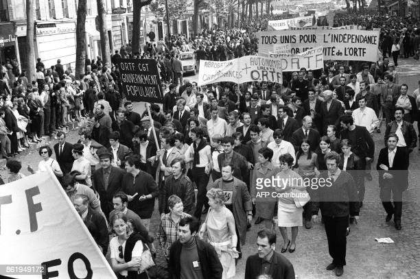 French Radio and Television Employees from the ORTF take part in the big demonstration called by the CGT and CFDT unions in Paris 29 May 1968 during...