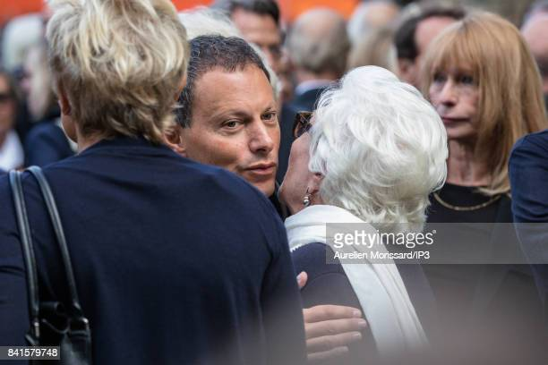 French radio and television host Marc Olivier Fogiel and French singer Line Renaud attend Mireille Darc's Funeral at Eglise Saint Sulpice at Eglise...