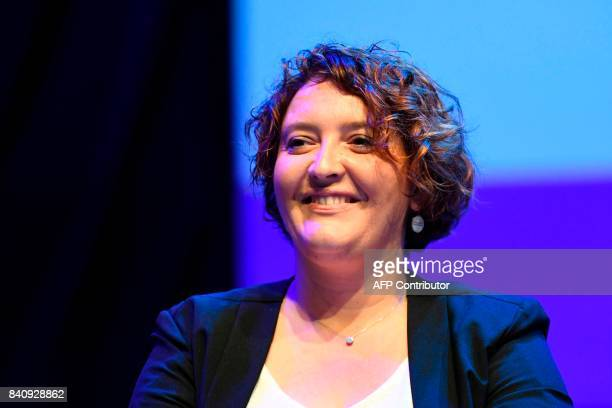 French radio host for France Bleu Vanessa Lambert attends a press conference held at the start of the 2017/2018 season at the French public service...