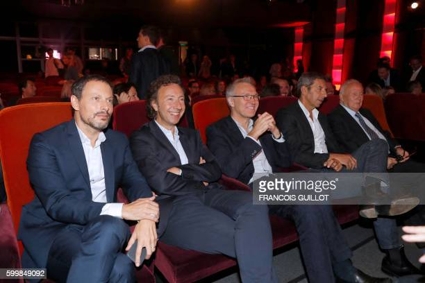 French Radio show hosts MarcOlivier Fogiel Stephane Bern Laurent Ruquier Michel Cymes and Philippe Bouvard attend a press conference marking the...