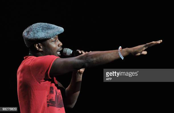 French rap singer MC Solaar performs at Karl Marx theater in Havana on November 20 during a concert to collect founds to help Cuban schools damaged...