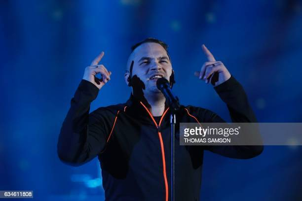 French rapper Julien Marie aka Jul performs on stage during the 32nd Victoires de la Musique the annual French music awards ceremony on February 10...