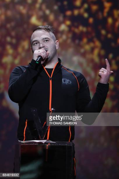 French rapper Julien Marie aka Jul speaks after receiving the best urban music album award during the 32nd Victoires de la Musique the annual French...