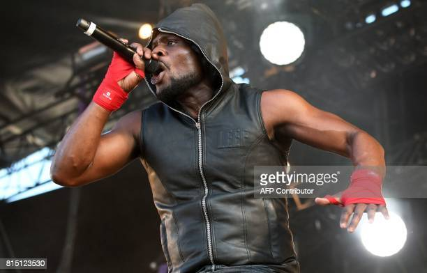 French rapper Kery James performs during the third day of the 26th edition of the 'Vieilles Charrues' music festival in CarhaixPlouguer western...