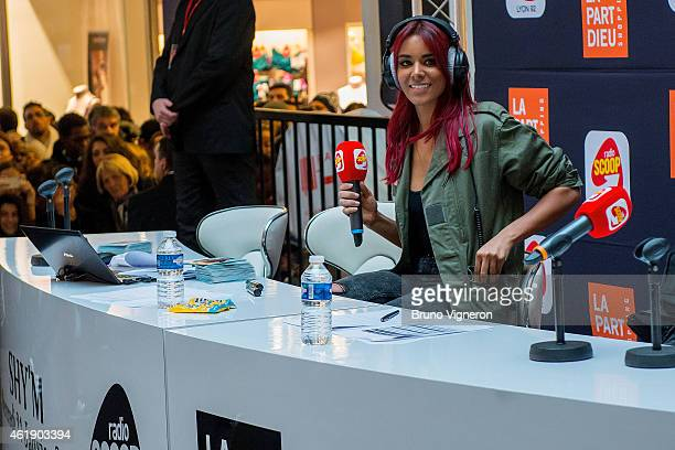 French RB singer Shy'm real name Tamara Marthe attends a public showcase at PartDieu shopping center on January 21 2015 in Lyon France