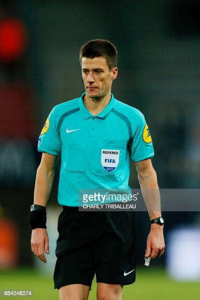 French referee Benoit Bastien looks on during the French L1 football match between Caen and Bordeaux on January 7 2017 at the Michel d'Ornano stadium...