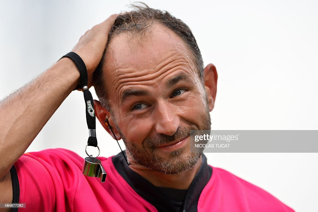 French referee <b>Romain Poite</b> reacts during the French Top 14 rugby union ... - french-referee-romain-poite-reacts-during-the-french-top-14-rugby-picture-id484877282