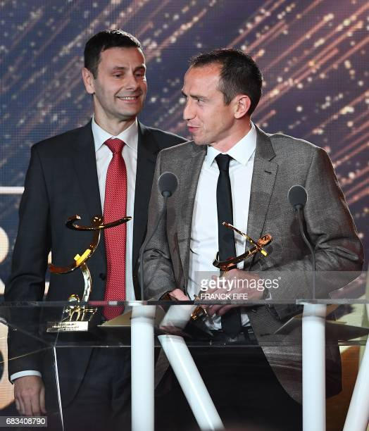 French referee Ruddy Buquet delivers a speech after receiving the award for the best referee during the 26th edition of the UNFP trophies ceremony at...