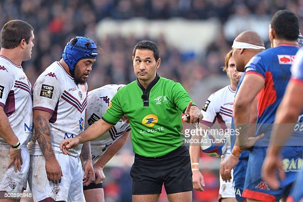 French referee Salem Attalah gestures during the French Top 14 rugby union match between BordeauxBegles and Grenoble on December 27 2015 at the...