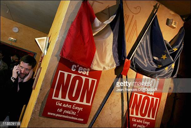 French Referendum On The European Constitution No Vote Wins Headquarters Of Socialist Leader Jean Luc Melenchon On May 29Th 2005 In France