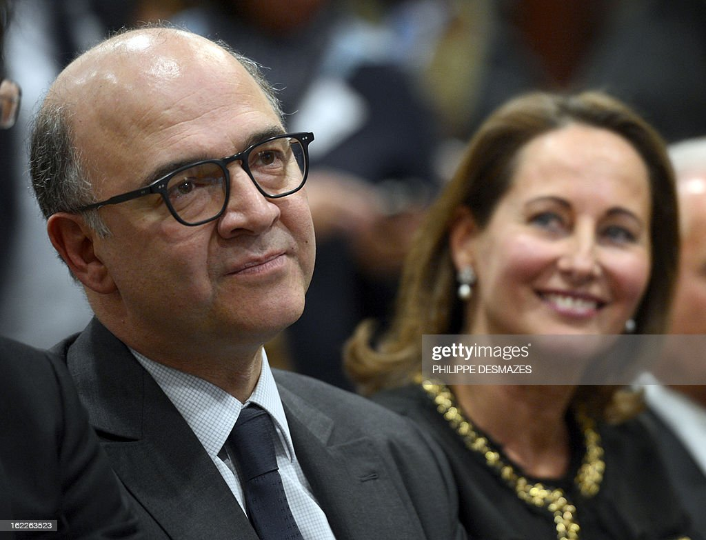 French region Poitou-Charentes president Segolene Royal and Economy, Finance and Foreign Trade minister Pierre Moscovici, attend the press conference of French Minister for Industrial Recovery after the first board of directors of the government-backed investment bank BPI on February 21, 2012 in Dijon. Royal is due to be appointed vice-president of the BPI during this meeting.