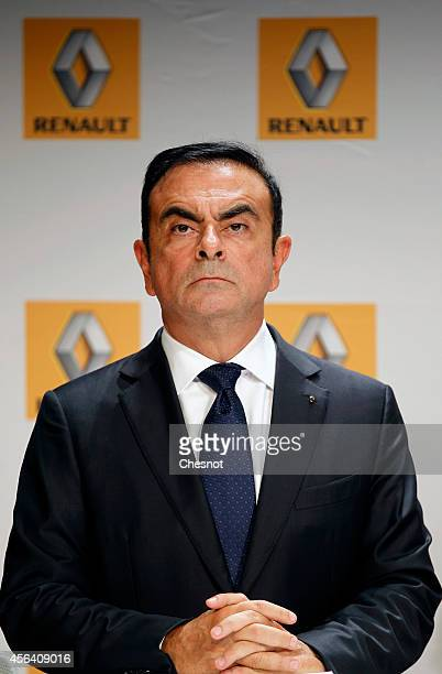 French Renault car maker CEO Carlos Ghosn attends a press conference during the inauguration of a new production plant on September 30 2014 in...