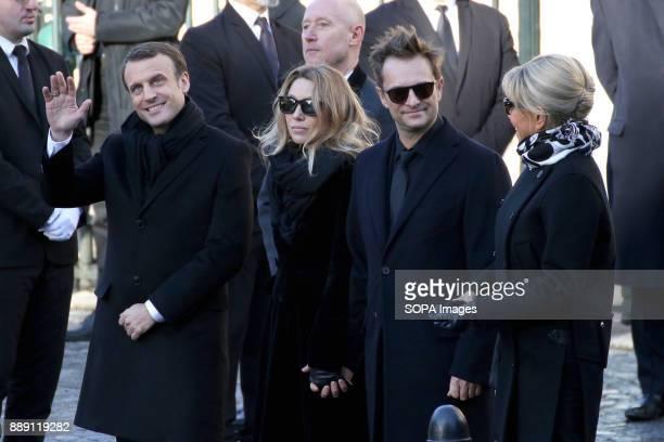 French Republic President Emmanuel Macron Laura Smet David Hallyday and Brigitte Macron seen during Johnny Hallydays funerals at Eglise de la...