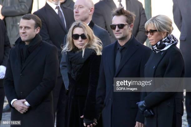 French Republic President Emmanuel Macron Laura Smet David Hallyday and Brigitte Macron during Johnny Hallydays funerals at Eglise de la Madeleine