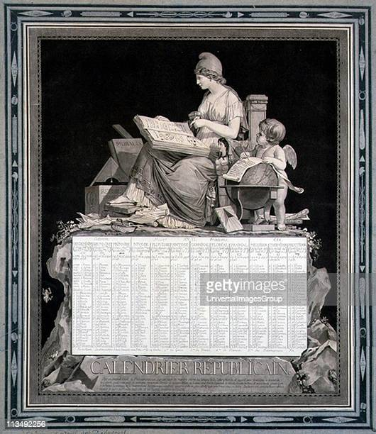 French Republican Calendar for 1794 Napoleon abolished this calendar with effect from l January 1806 Design by Louis Philibert Bebucourt French...