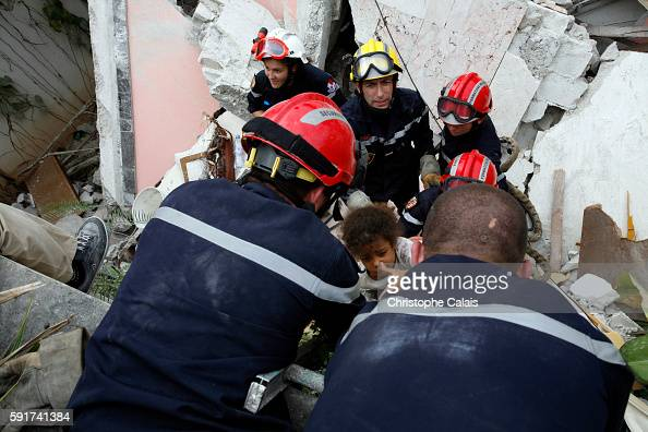 French rescuers from the Brignoles UIISC 7 Instruction and Intervention Unit section Verdi 11 organize the rescue of young Haitian girls Roxanne and...
