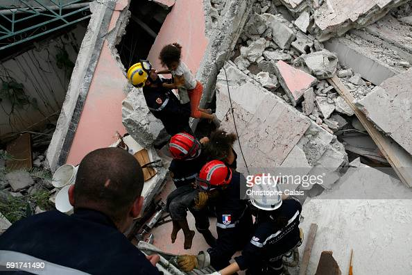 French rescuers from the Brignoles UIISC 7 Instruction and Intervention Unit section Verdi 11 organize the rescue of young Haitian girls Mwinda and...