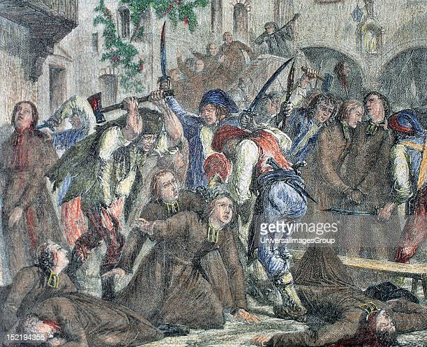 French Revolution Clerics killing Engraving