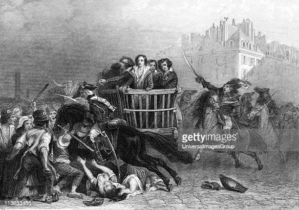 French Revolution Last victims of the Reign of Terror being taken to the guillotine in a tumbril Engraving