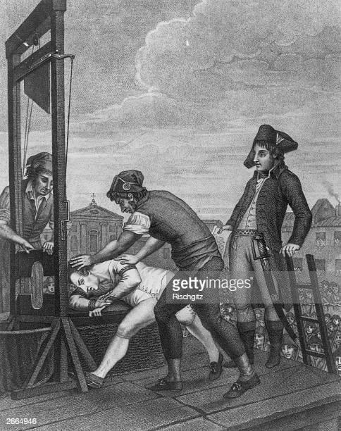 French revolutionary Robespierre being put to the guillotine after the French Revolution
