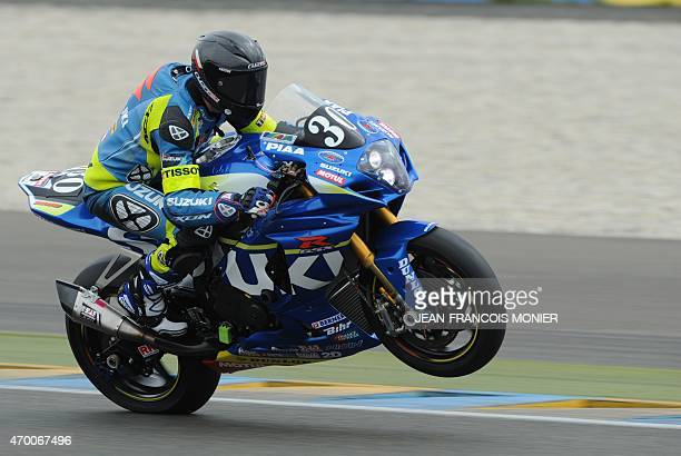 French rider Anthony Delhalle on his Suzuki GSXR Formula EWC N°30 takes part in the second qualifying practice session of the the 38th Le Mans 24...