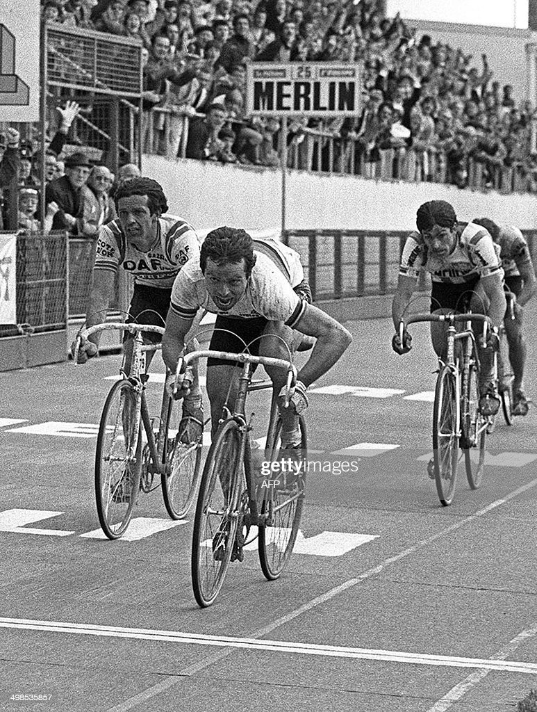 French rider <a gi-track='captionPersonalityLinkClicked' href=/galleries/search?phrase=Bernard+Hinault&family=editorial&specificpeople=749939 ng-click='$event.stopPropagation()'>Bernard Hinault</a> (C) won the sprint on April 12, 1981, the 79th edition of the classic Paris-Roubaix , before the Belgian Roger De Vlaeminck (L). The hundredth edition of Paris-Roubaix will take place the April 14, 2002.