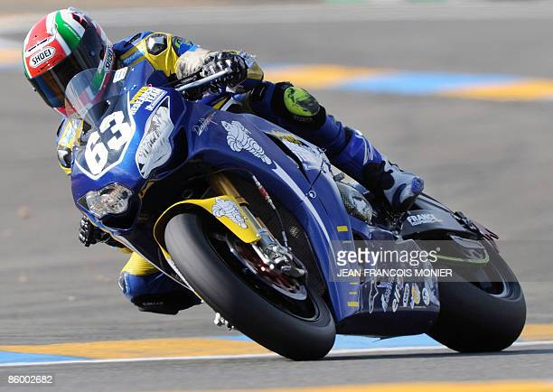 French rider Hugo Marchand rides his Honda N°63 during the Le Mans 24 Hours endurance race first qualifying session on April 16 2009 in Le Mans...