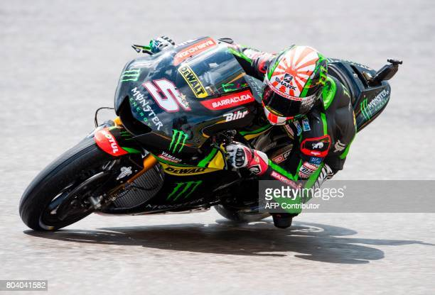French rider Johann Zarco of the Monster Yamaha Tech 3 team steers his bike during the second training session of the Moto Grand Prix of Germany at...