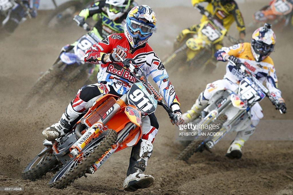 French rider Jordi Tixier competes during the motocross MX2 Belgian Grand Prix on August 3 in Lommel AFP PHOTO / BELGA / KRISTOF VAN ACCOM **Belgium...