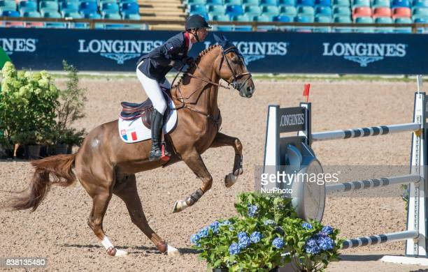 French rider Kevin Staut on Reveur de Hurtebise HDC rides in the qualifying competition of the 2017 FEI European Championships at Ullevi Stadium in...