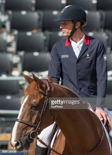 French rider Kevin Staut on Reveur de Hurtebise HDC rides the lap of honor at Ullevi Stadium in Gothenburg Sweden on August 23 2017 after placing...