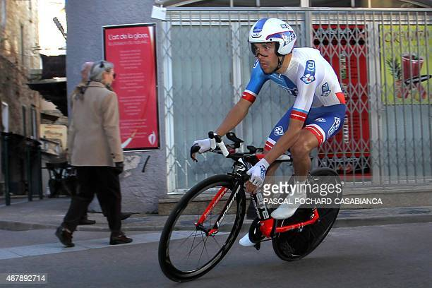 French rider Thibaut Pinot competes during the second stage of the 84th Criterium International Cycling race on March 29 2015 in Porto Vecchio French...
