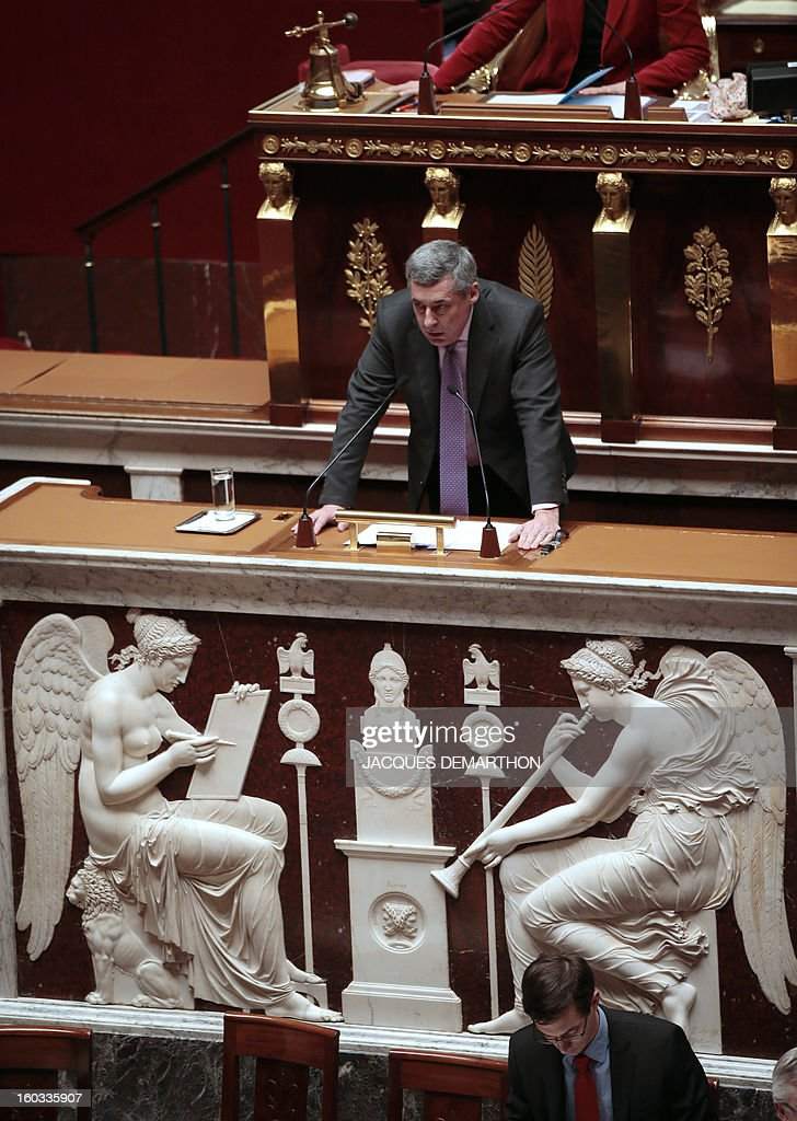 French right wing opposition party (UMP) MP Henri Guaino delivers a speech at the National Assembly on January 29, 2013 in Paris. The French National Assembly is due to begin a marathon debate on legalising same-sex marriage after months of public protests and counter-protests.