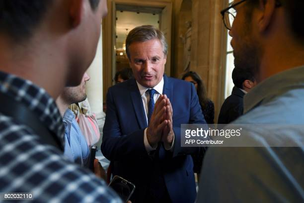 French rightwing Debout la France party's member of Parliament Nicolas DupontAignan speaks to the press during the inaugural session of the 15th...