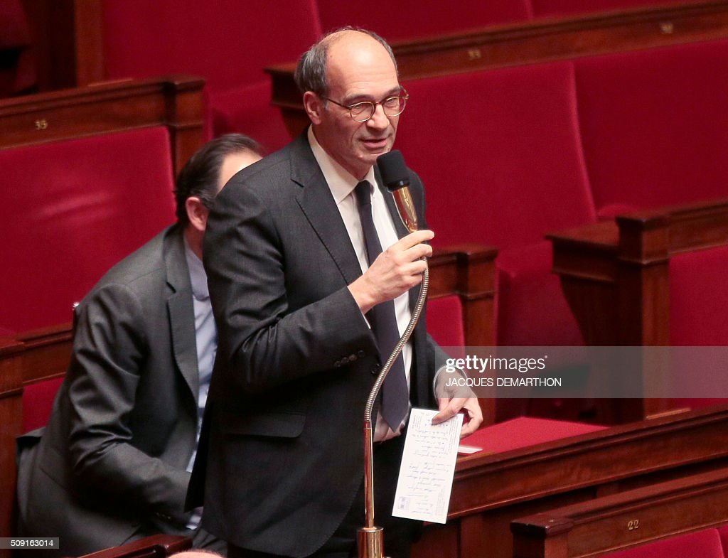 French right-wing Les Republicains (LR) MP Eric Woerth speaks at the French National Assembly in Paris on February 9, 2016, as French lawmakers examined proposed changes to the constitution. France's lower house of parliament is to vote on plans to enshrine a state of emergency into the constitution, including a controversial measure to strip French nationality from those convicted of terrorism and serious crimes. / AFP / JACQUES DEMARTHON