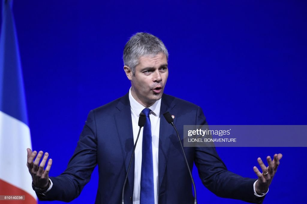 French right-wing Les Republicains (LR) party delegate Vice-President, Laurent Wauquiez delivers a speech during the LR National Council on February 14, 2016 in Paris. AFP PHOTO / LIONEL BONAVENTURE / AFP / LIONEL BONAVENTURE