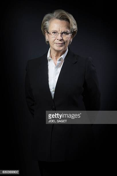 French rightwing Les Republicains party member and candidate for the 2017 presidential elections Michele AlliotMarie poses during a photo session in...