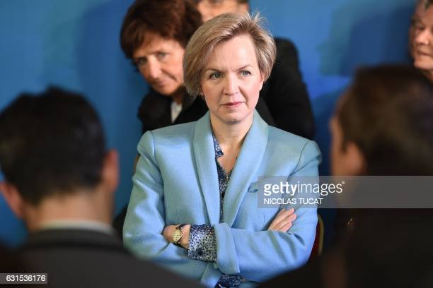 French rightwing Les Republicains party member and deputy mayor of Bordeaux Virginie Calmels looks on during Mayor of Bordeaux' press conference to...