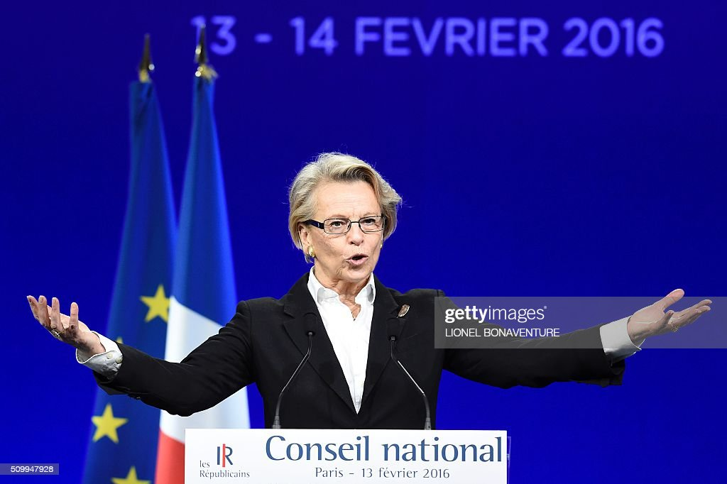 French right-wing Les Republicains (LR) party member Michele Alliot-Marie gives a speech during the LR National Council on February 13, 2016 in Paris. AFP PHOTO / LIONEL BONAVENTURE / AFP / LIONEL BONAVENTURE