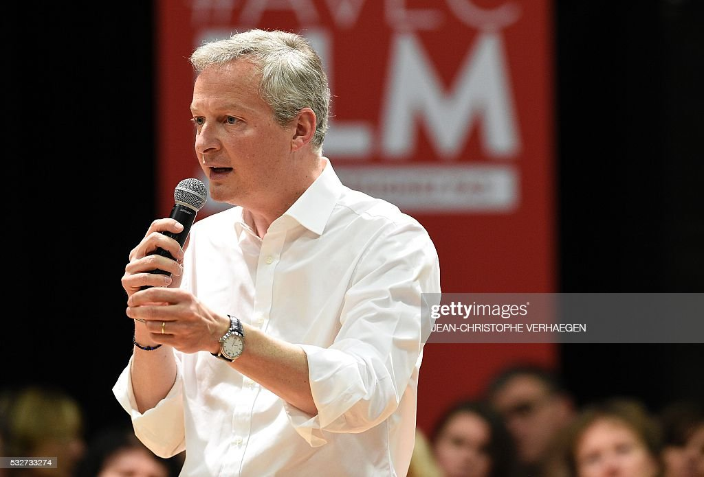 Bruno Le Maire speaks during a campaign rally, on May 19, 2016 in