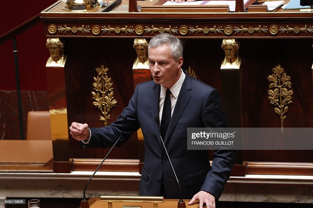 French right-wing Les Republicains (LR) party MP and candidate for the party's primary for the 2017 presidential elections, Bruno Le Maire speaks during the post-Brexit debate on June 28, 2016 at the French National assembly in Paris. Paris stocks stot up more than three percent in afternoon trading on Tuesday, regaining a portion of their losses since Brexit, while investors kept a wary eye on an EU. / AFP / FRANCOIS