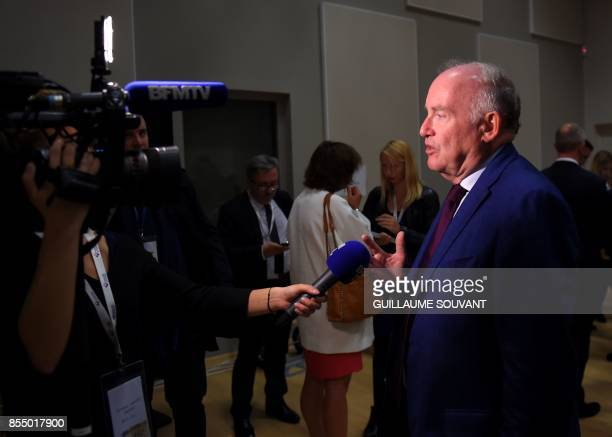 French rightwing Les Republicains party MP Dominique Bussereau speaks to the press after the prime minister's speech during the opening of the...