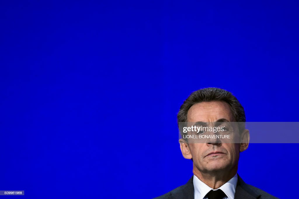 French right-wing Les Republicains (LR) party President, Nicolas Sarkozy looks on during the LR National Council on February 13, 2016 in Paris. AFP PHOTO / LIONEL BONAVENTURE / AFP / LIONEL BONAVENTURE