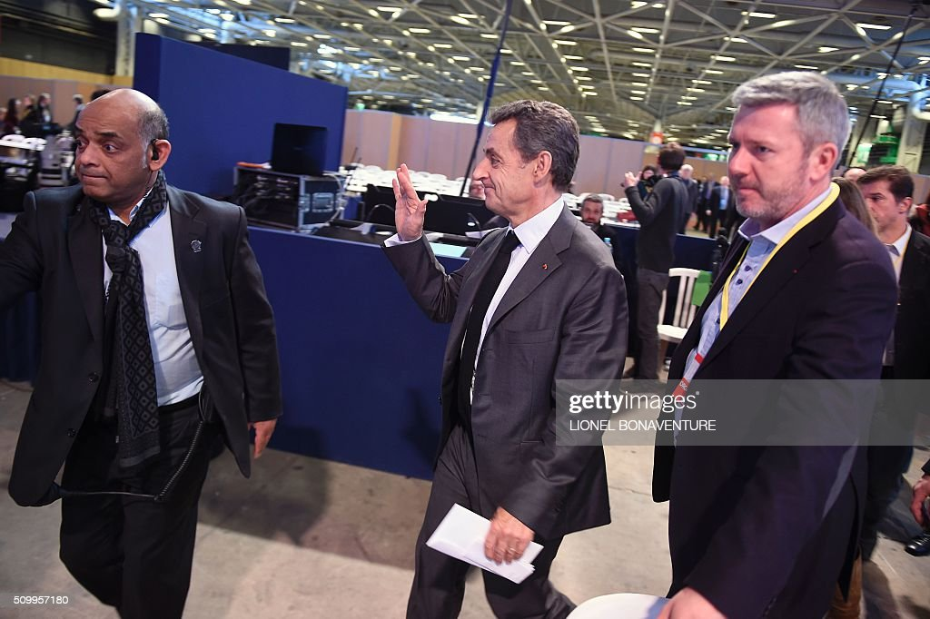 French right-wing Les Republicains (LR) party President, Nicolas Sarkozy attends the LR National Council on February 13, 2016 in Paris. AFP PHOTO / LIONEL BONAVENTURE / AFP / LIONEL BONAVENTURE