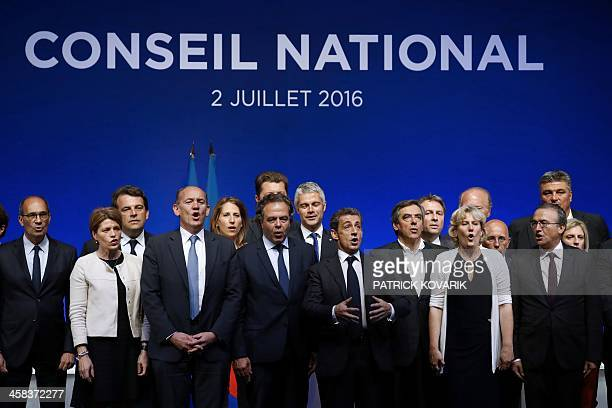 French rightwing Les Republicains party secretarygeneral and former Minister Eric Woerth LR member of parliament Isabelle Le Callennec LR party...